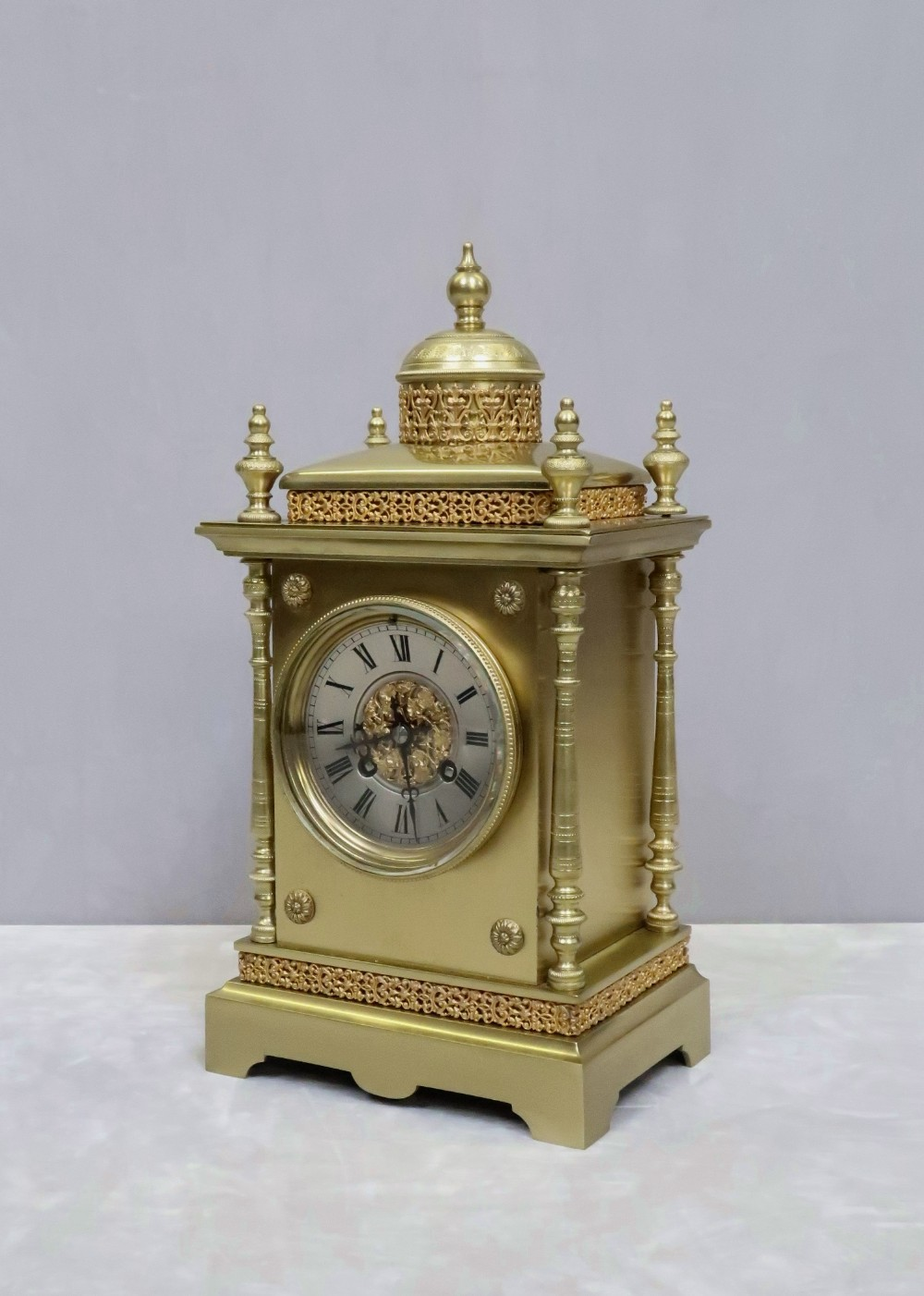 french belle epoque decorative brass mantel clock by japy freres