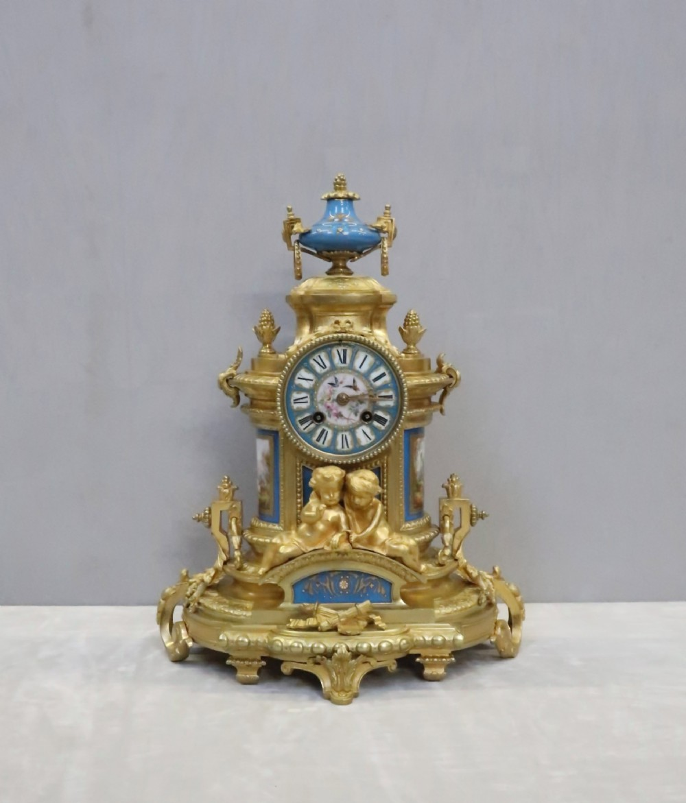 french napoleon iii bronze gilt and porcelain mantel clock