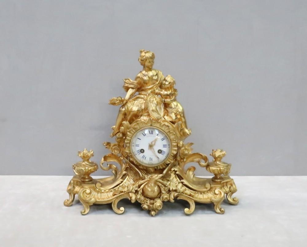 french napoleon iii bronze gilt mantel clock by raingo freres