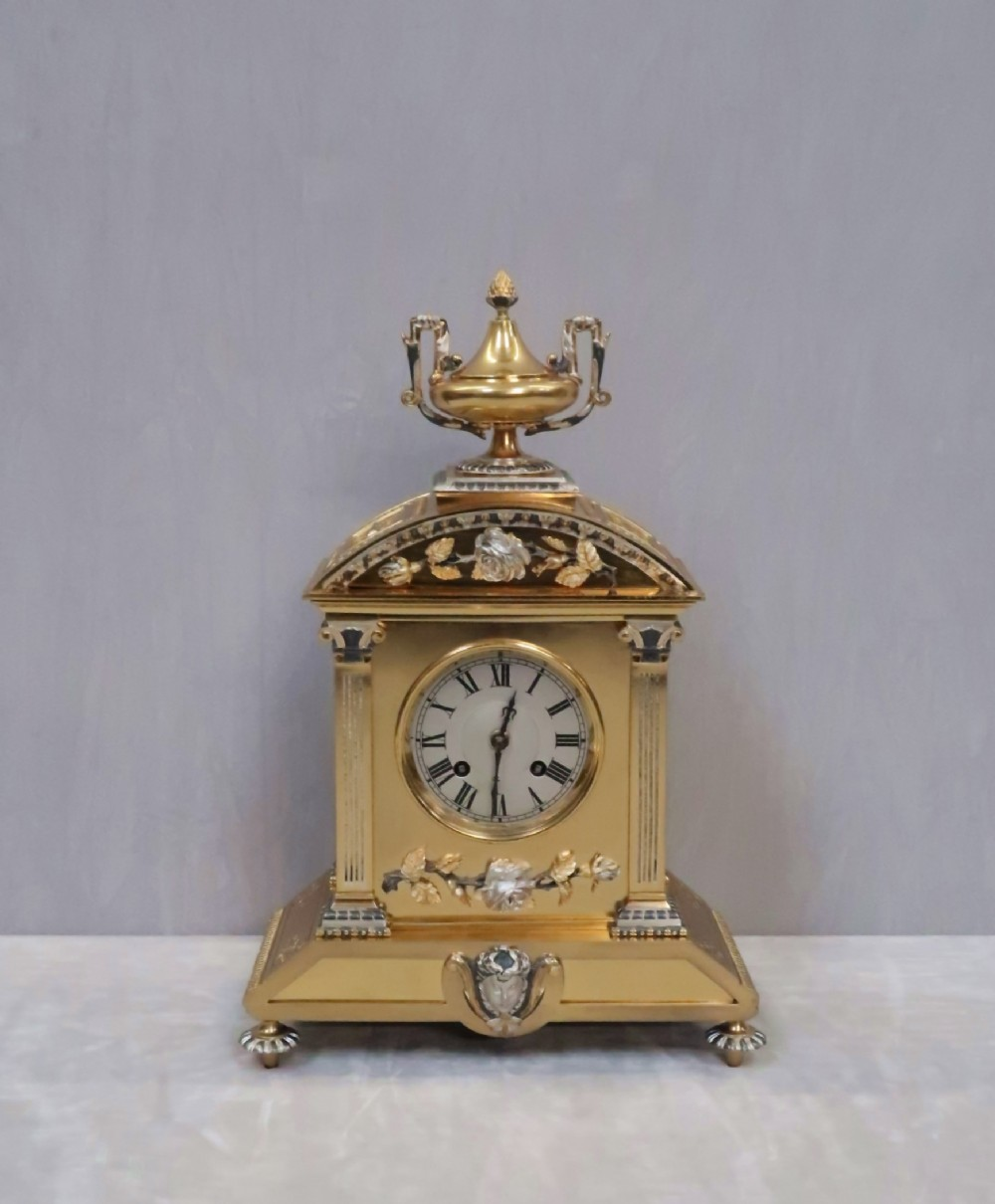 french belle epoque brass and silver gilt mantel clock