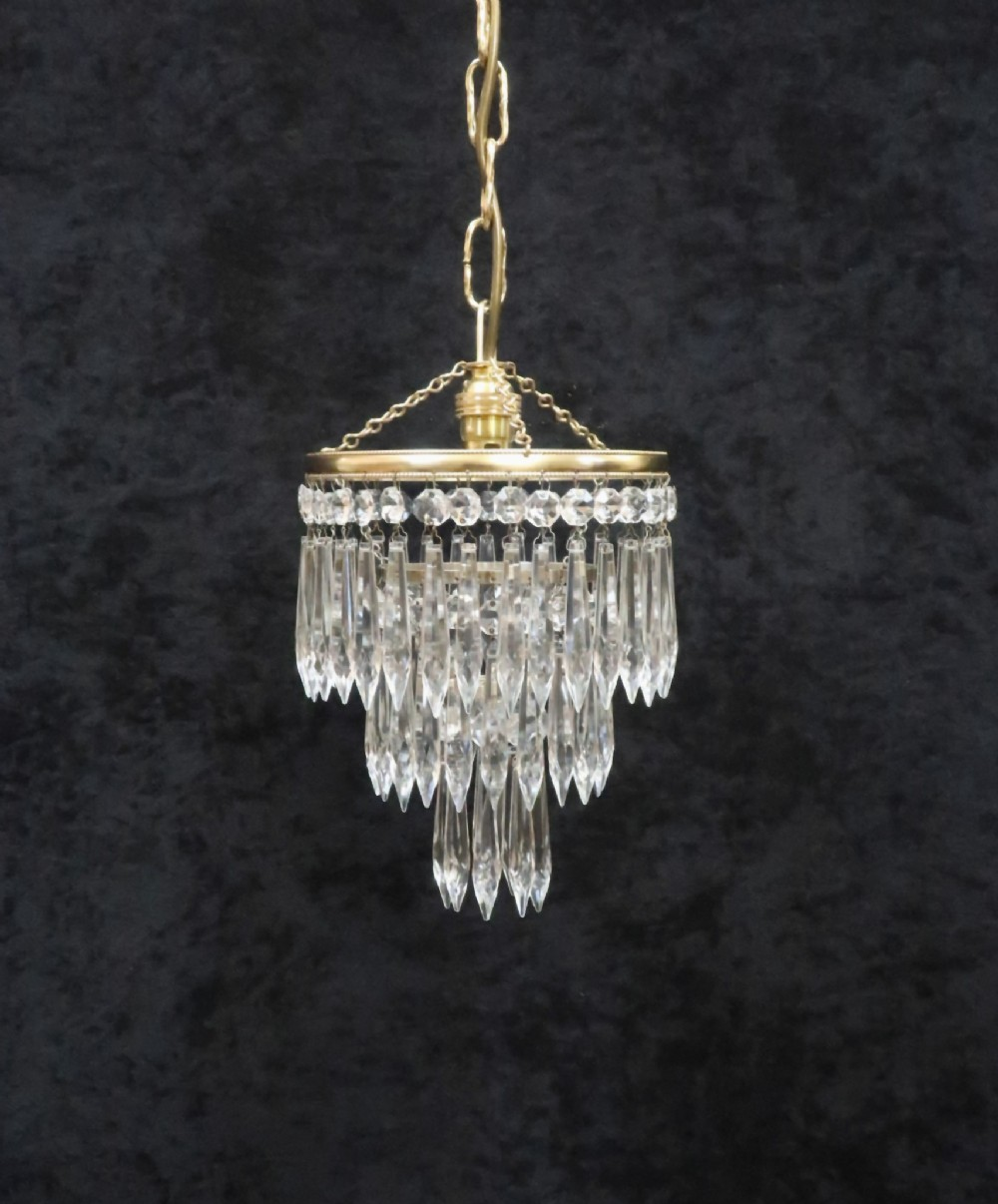italian art deco three tier crystal glass chandelier
