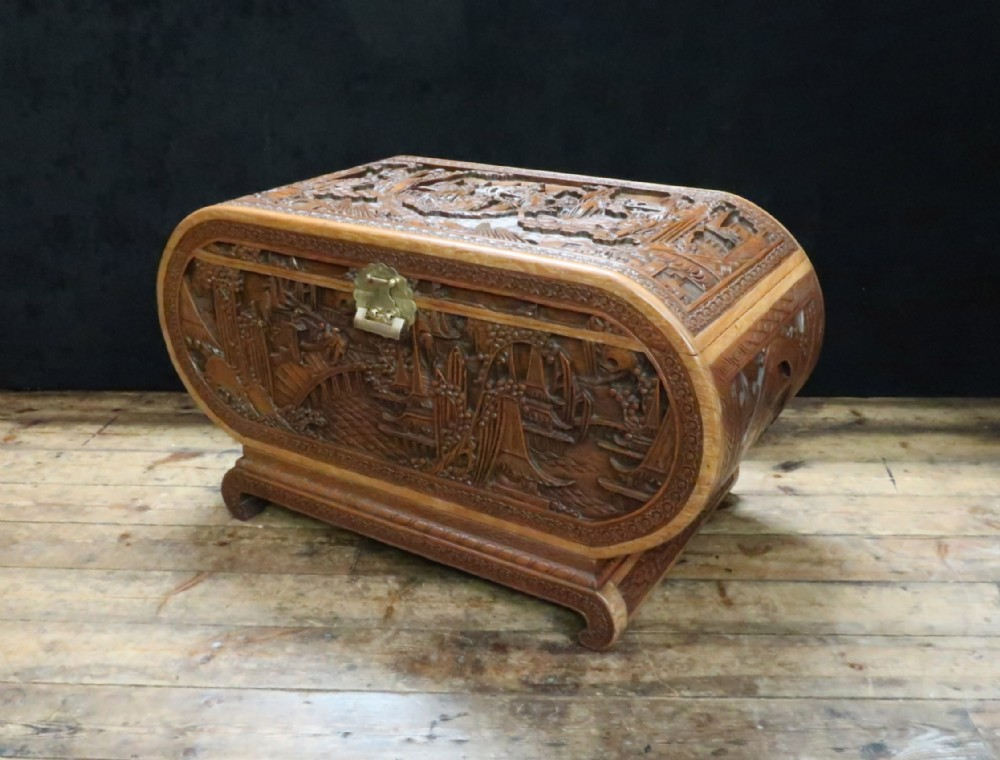 early 20th century oriental carved teak and camphor wood chest