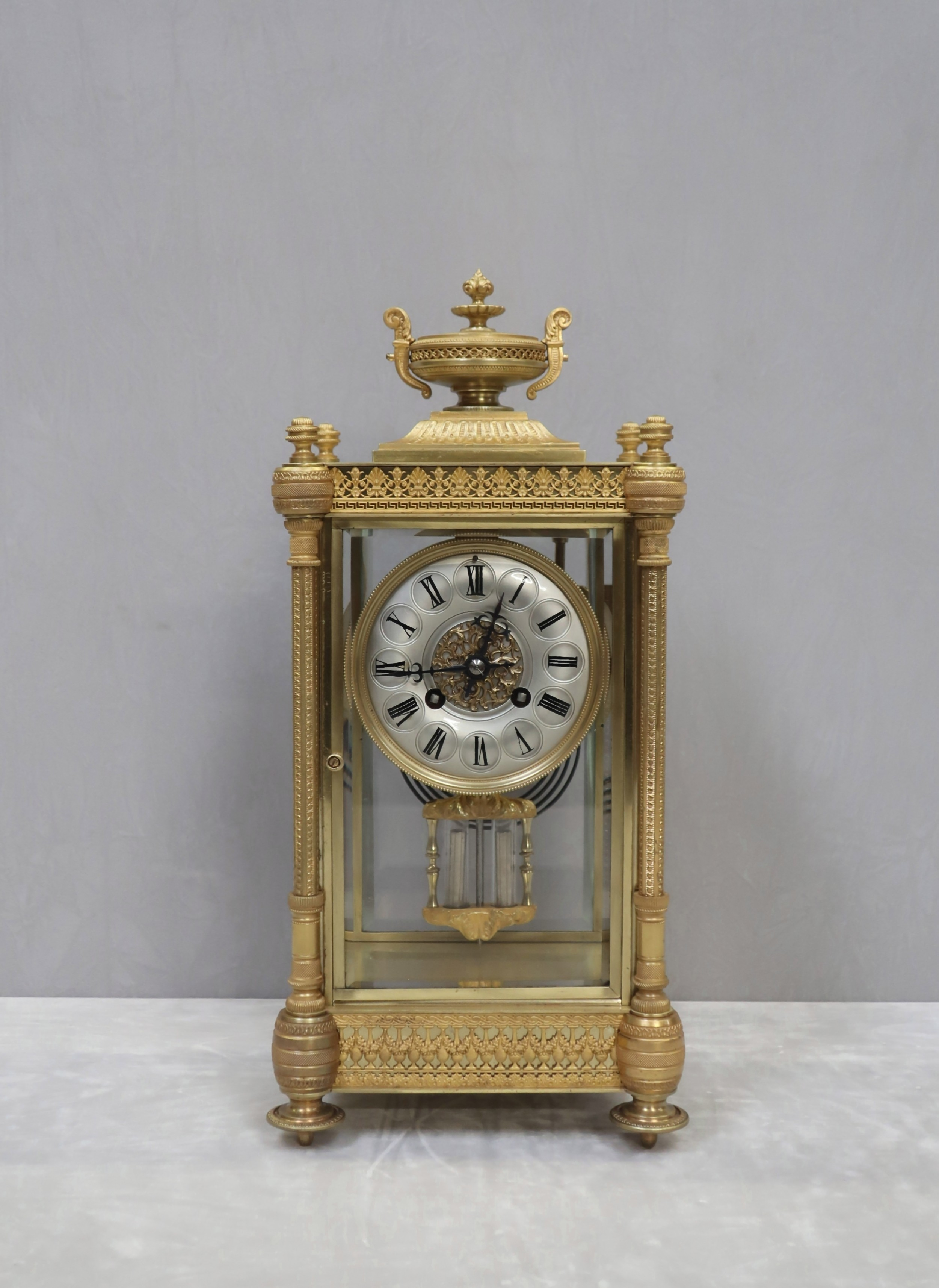 french napoleon iii brass and four glass mantel clock by vincenti