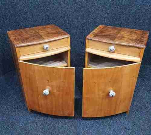 art deco walnut maple sycamore veneered bedside cabinets c1920 30