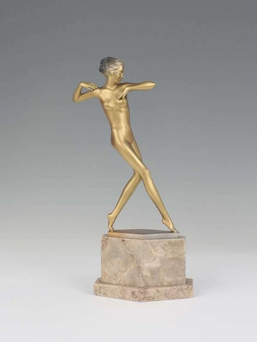 lorenzl art deco austrian bronze nude female figurine stepping out c1930