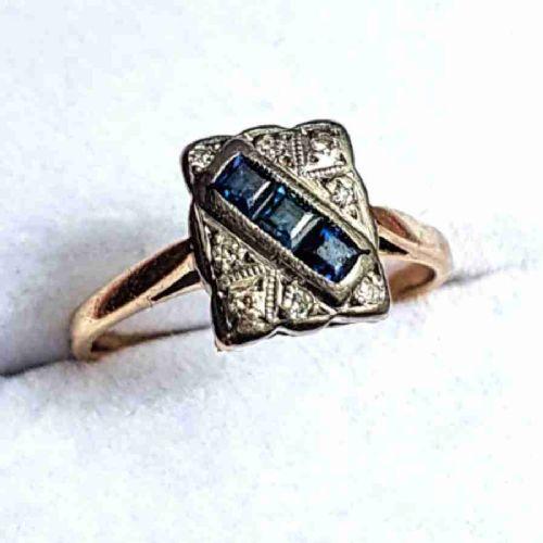 art deco princess sapphire diamond platinum 18ct gold panel ring size n o