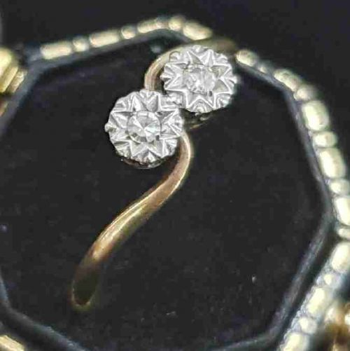 1930s art deco toi et moi platinum set diamonds 9ct gold ring size r s