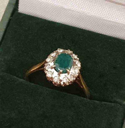 1930s art deco emerald diamond platinum 18ct gold ring size p