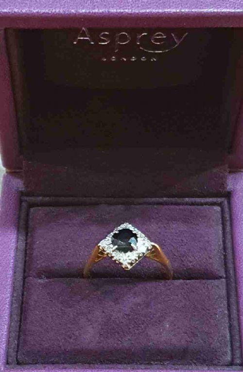 asprey co 1920s 1ct sapphire diamond ballerina halo platinum 18ct gold ring size p