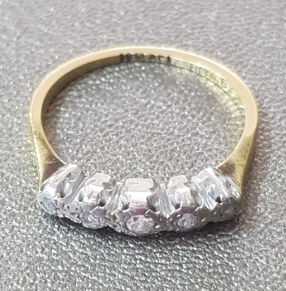 art deco 5 graduated diamonds on platinum setting 18 carat yellow gold band half eternity ring size n o