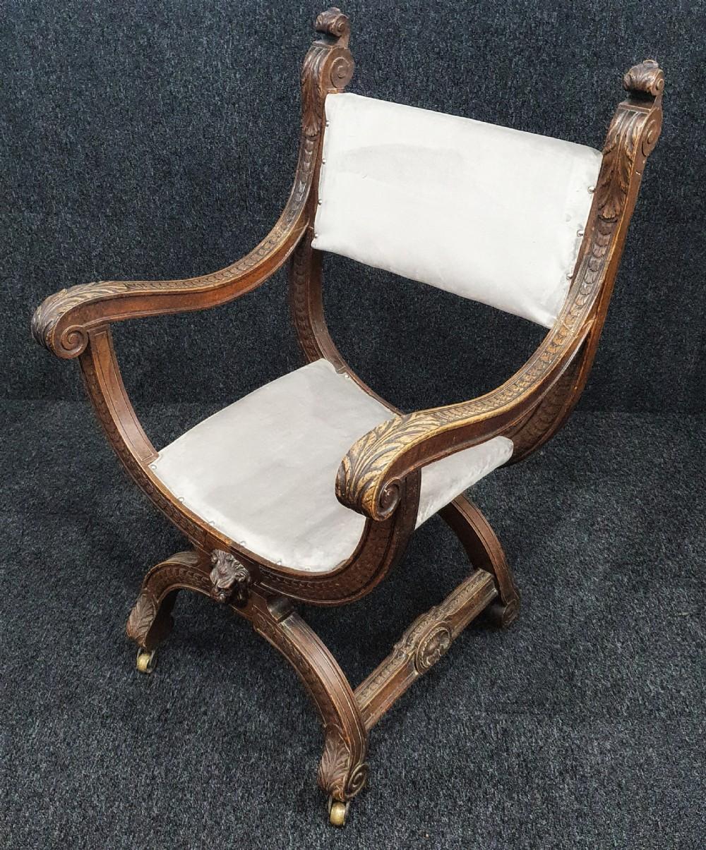victorian carved oak x framed armchair on casters reupholstered in ice blue grey velvet