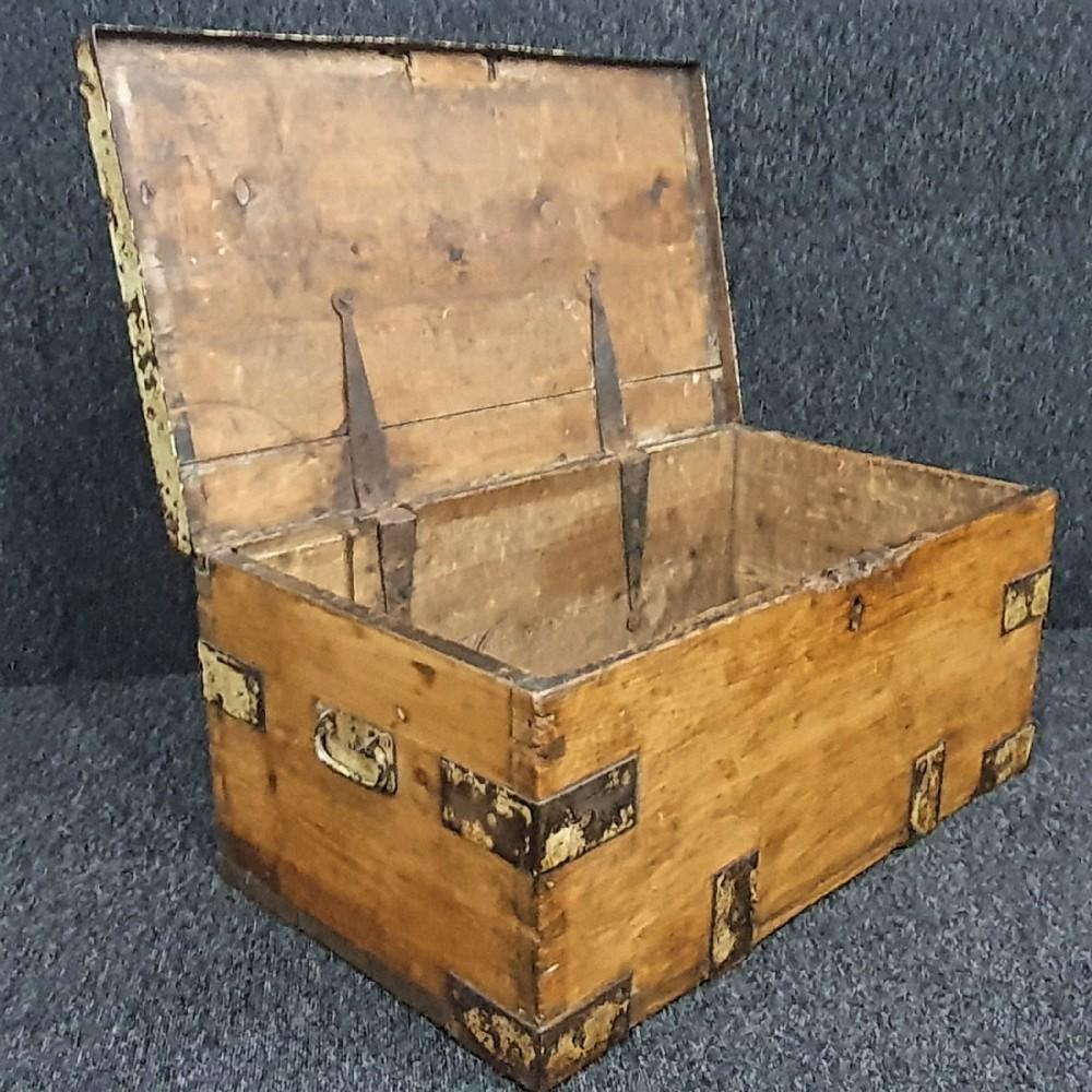 victorian pine trunk chest storage box