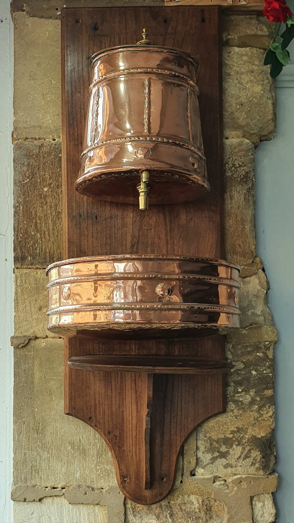 19th century french lavabo water fountain copper with brass mounted on wood