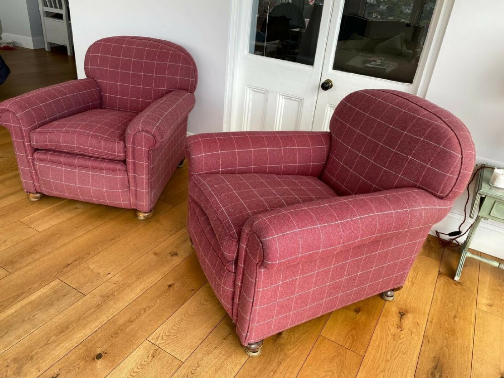 Pair Art Deco Reupholstered Club Armchairs C.1920 | 699837 ...