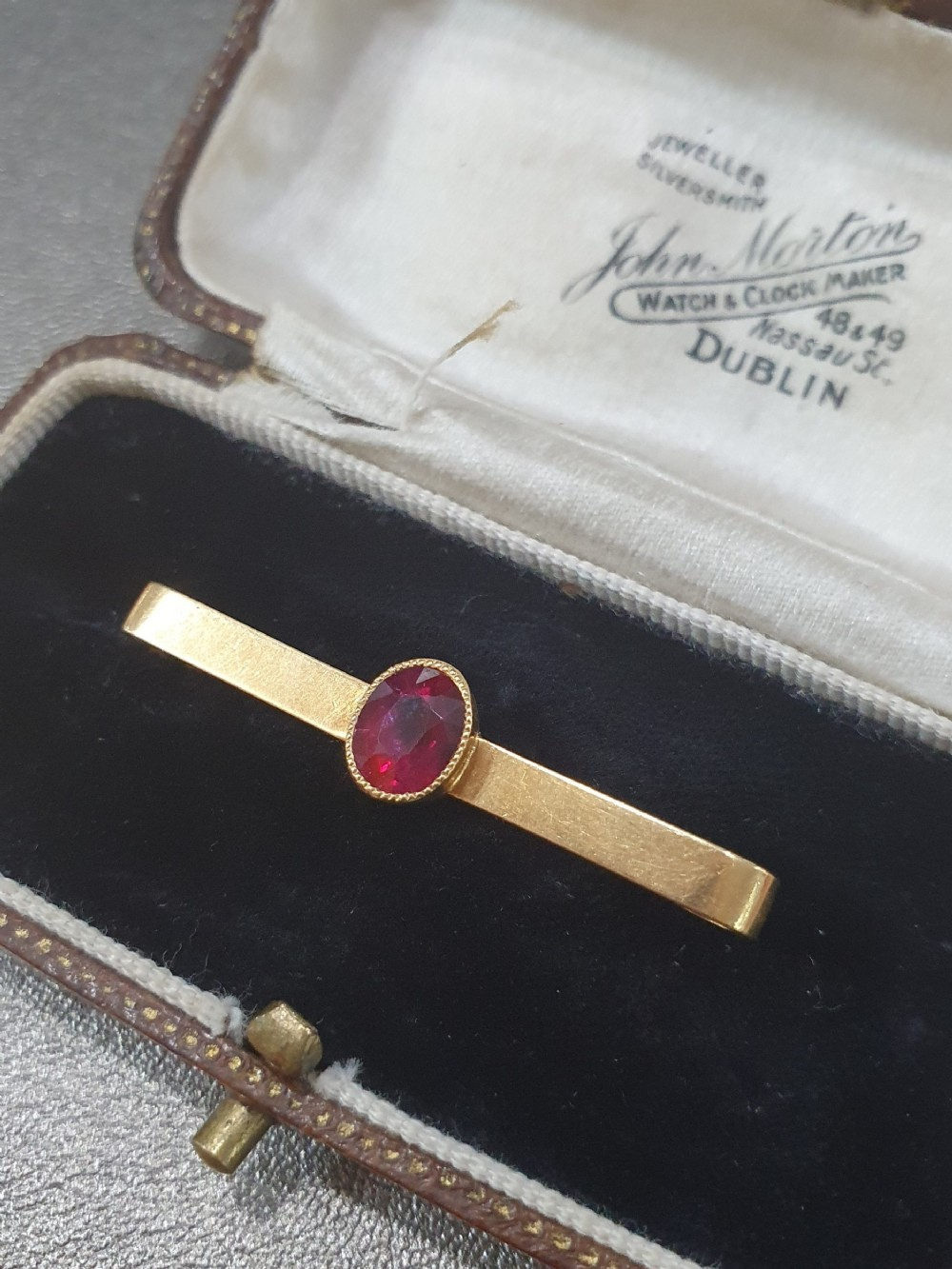 edwardian 18ct gold ruby brooch stock pin