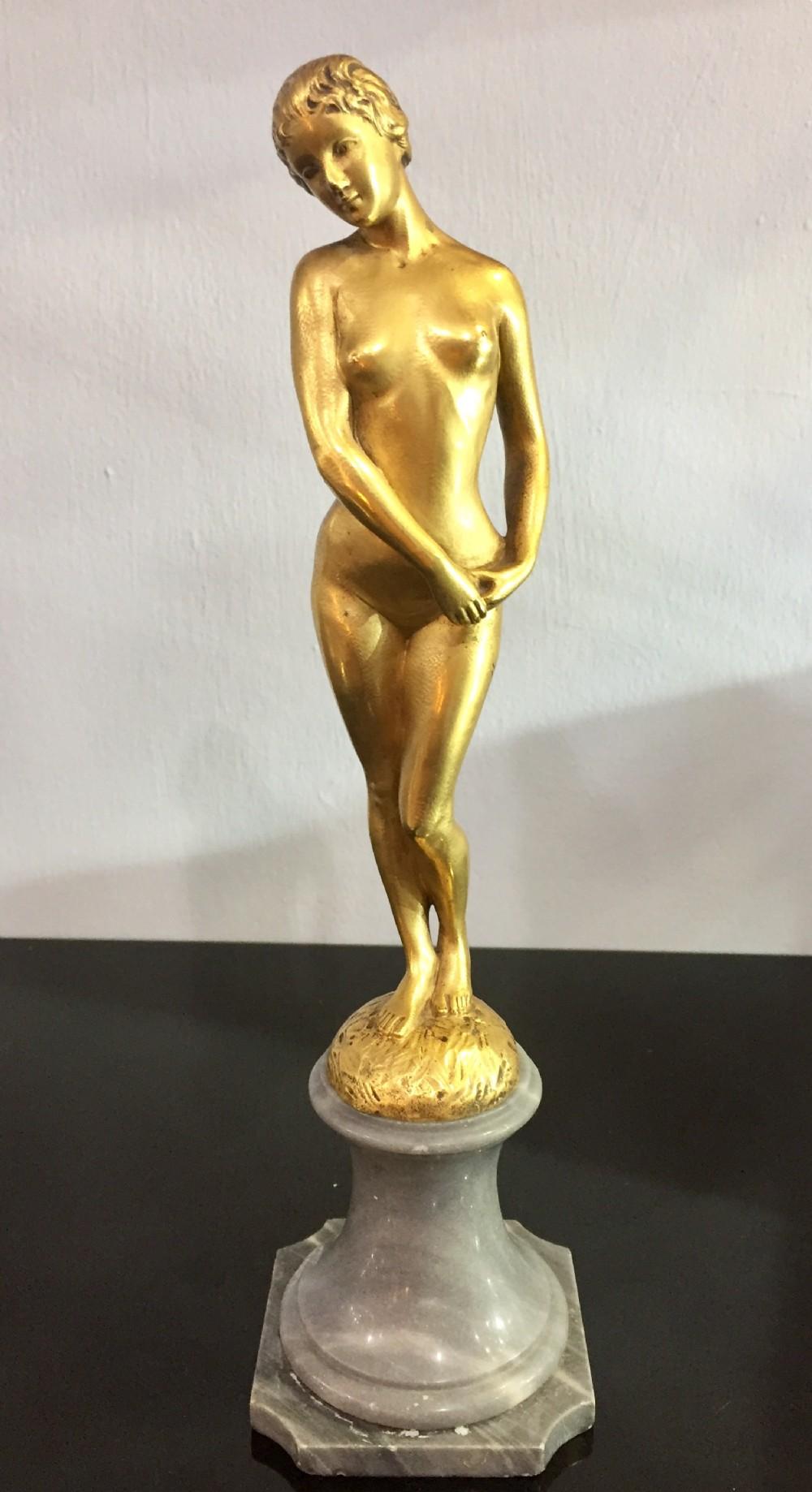 descomps modesty french art nouveau nude female bronze c1900