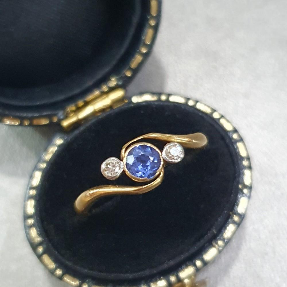 art deco sapphire diamond ring 18ct gold swirl trilogy size l