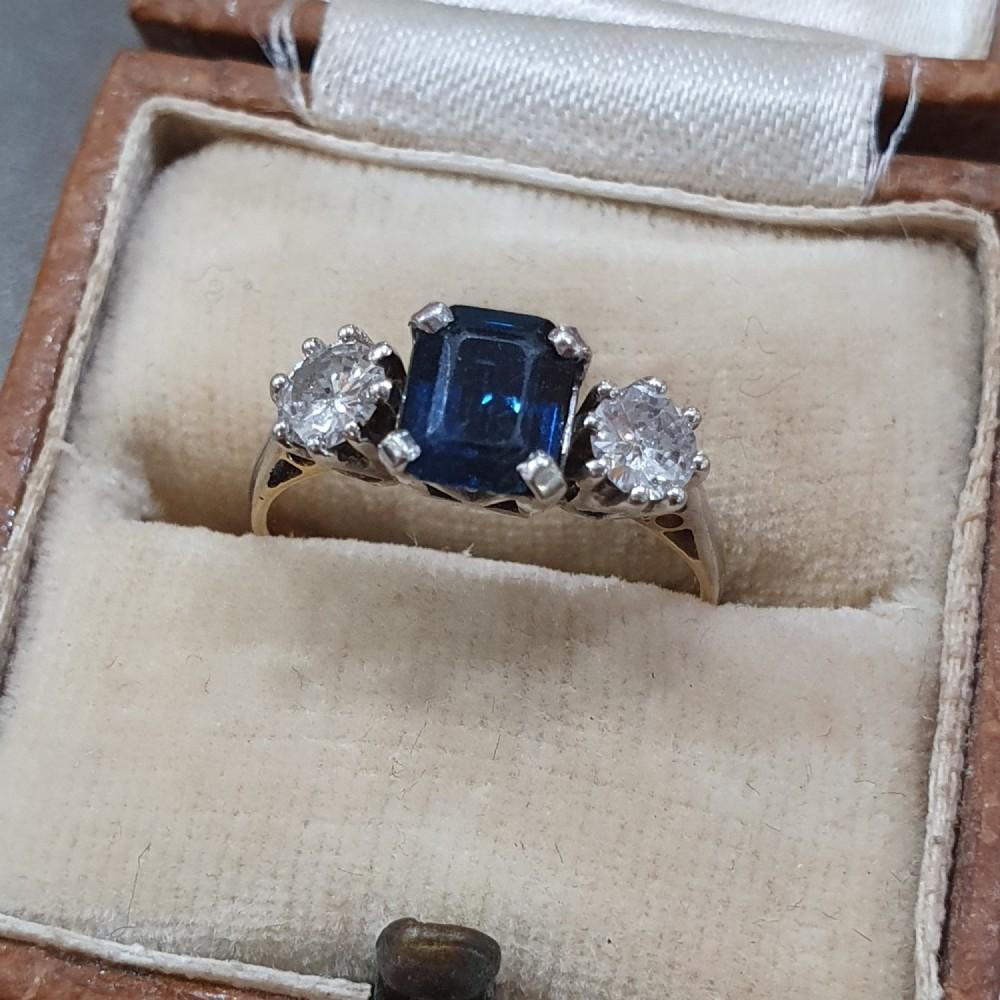 art deco sapphire 12ct diamond 18ct gold ring trilogy size l