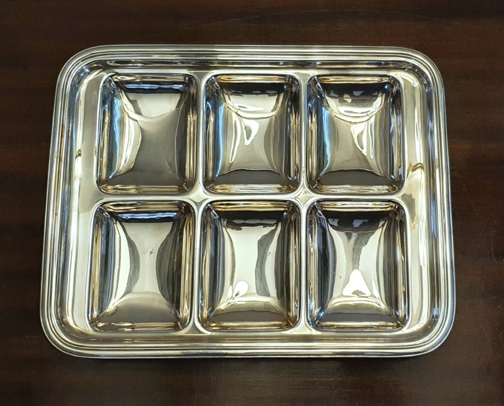 rare elkington 1933 art deco hors d'oeuvre canap appetiser 6 compartment dish silver plated tray