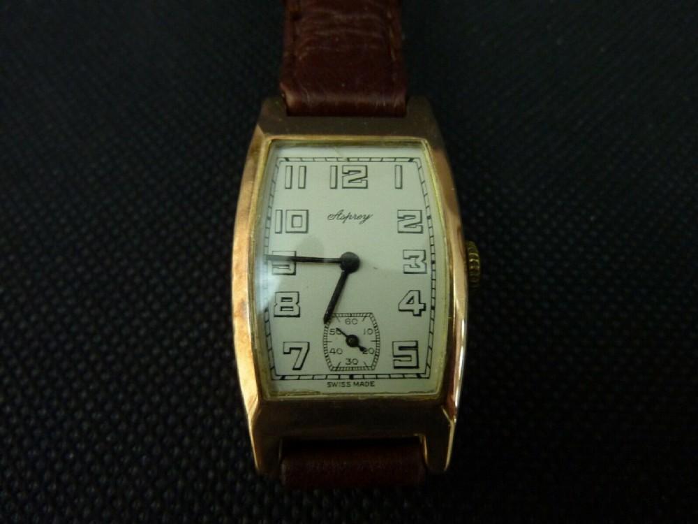 asprey 9ct gold watch edinburgh 1940 tonneau shaped serviced