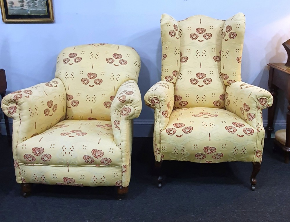 pair victorian his hers matched armchairs reupholstered in charles macintosh style fabric c1880