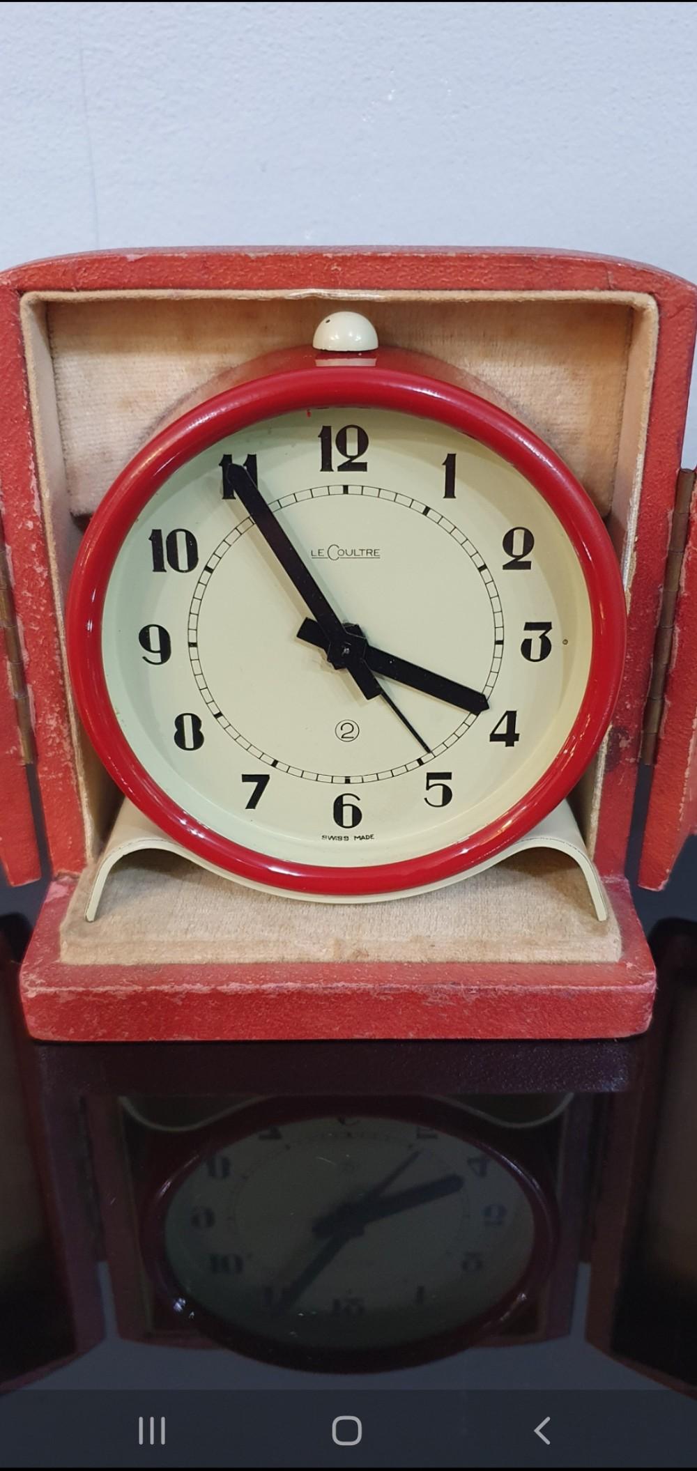 lecoultre clock 1920s art deco pre jaegerlecoultre 2 day alarm clock original red leather case serviced 12 mo guarantee