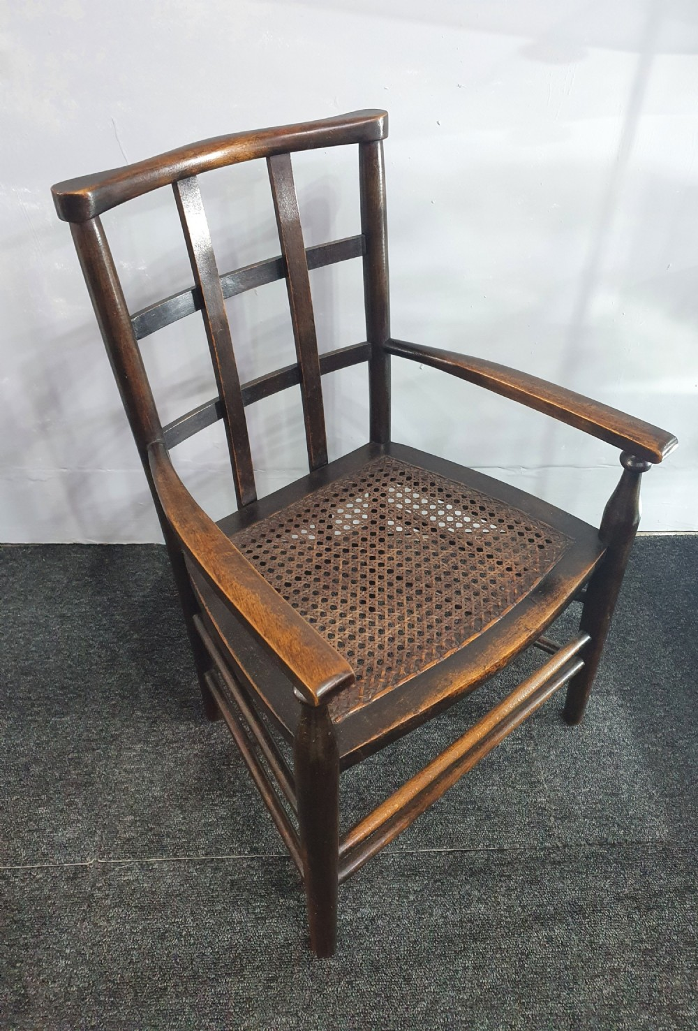 edwardian child's chair beechwood and cane