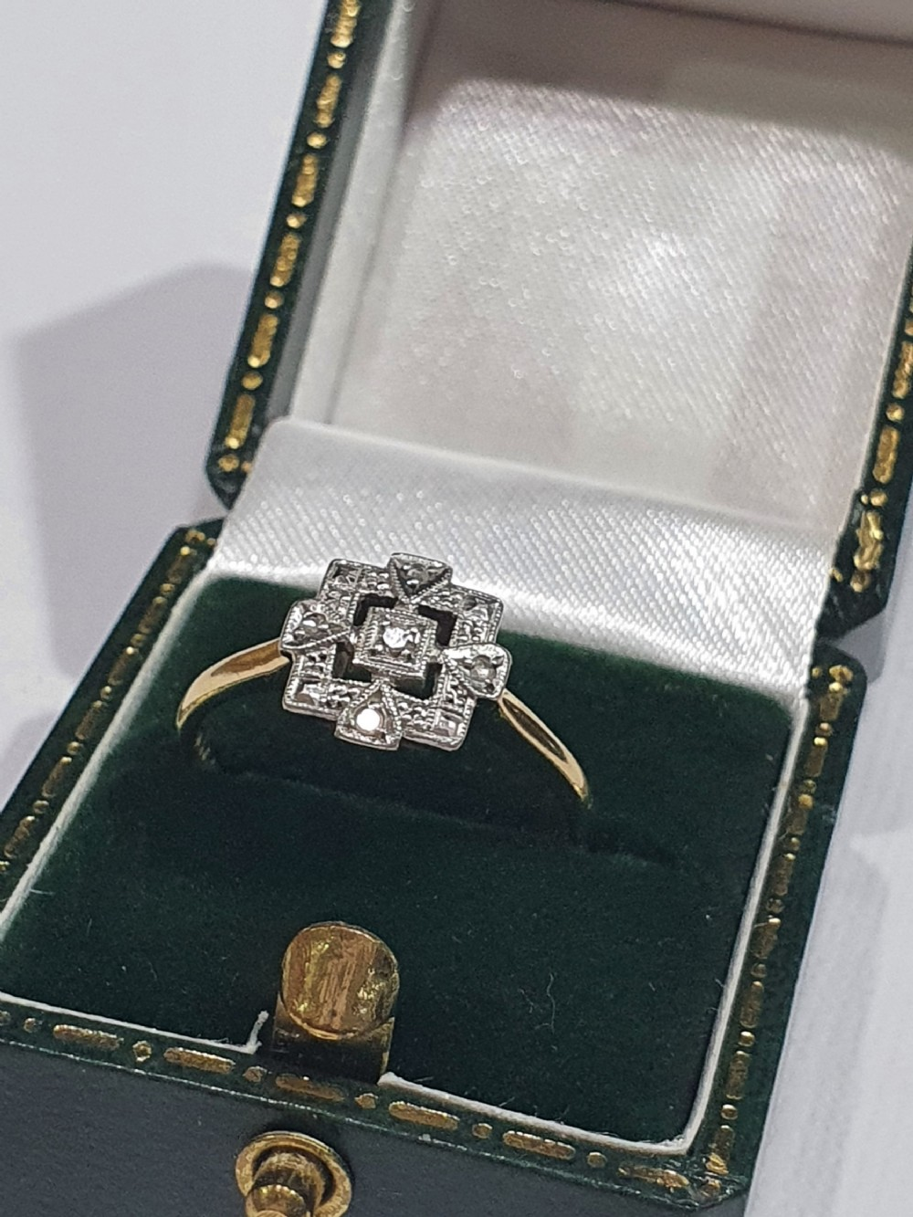 rare art deco platinum set diamond 9ct gold ring size m
