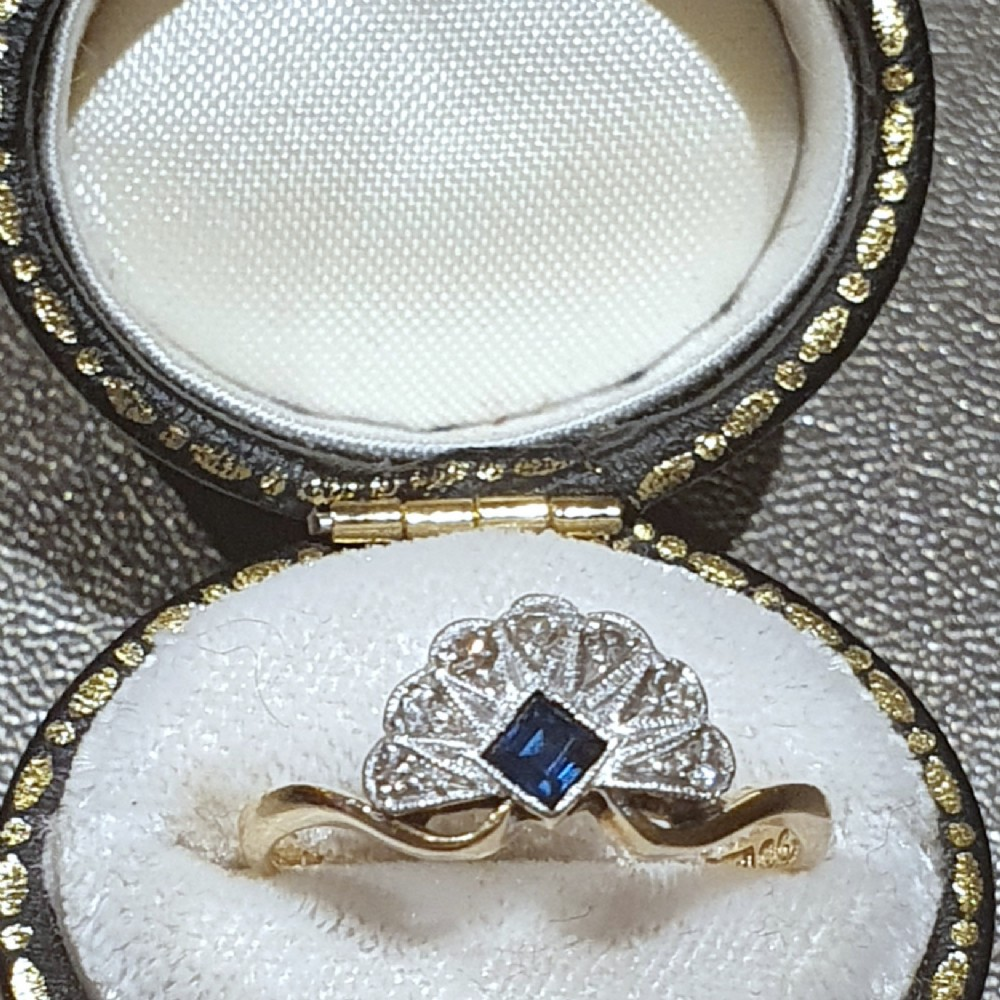 art deco sapphire diamond platinum 18ct gold fan ring size l