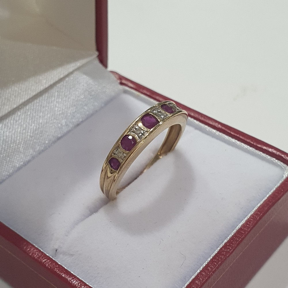 vintage ruby illusion set diamond half eternity ring size l