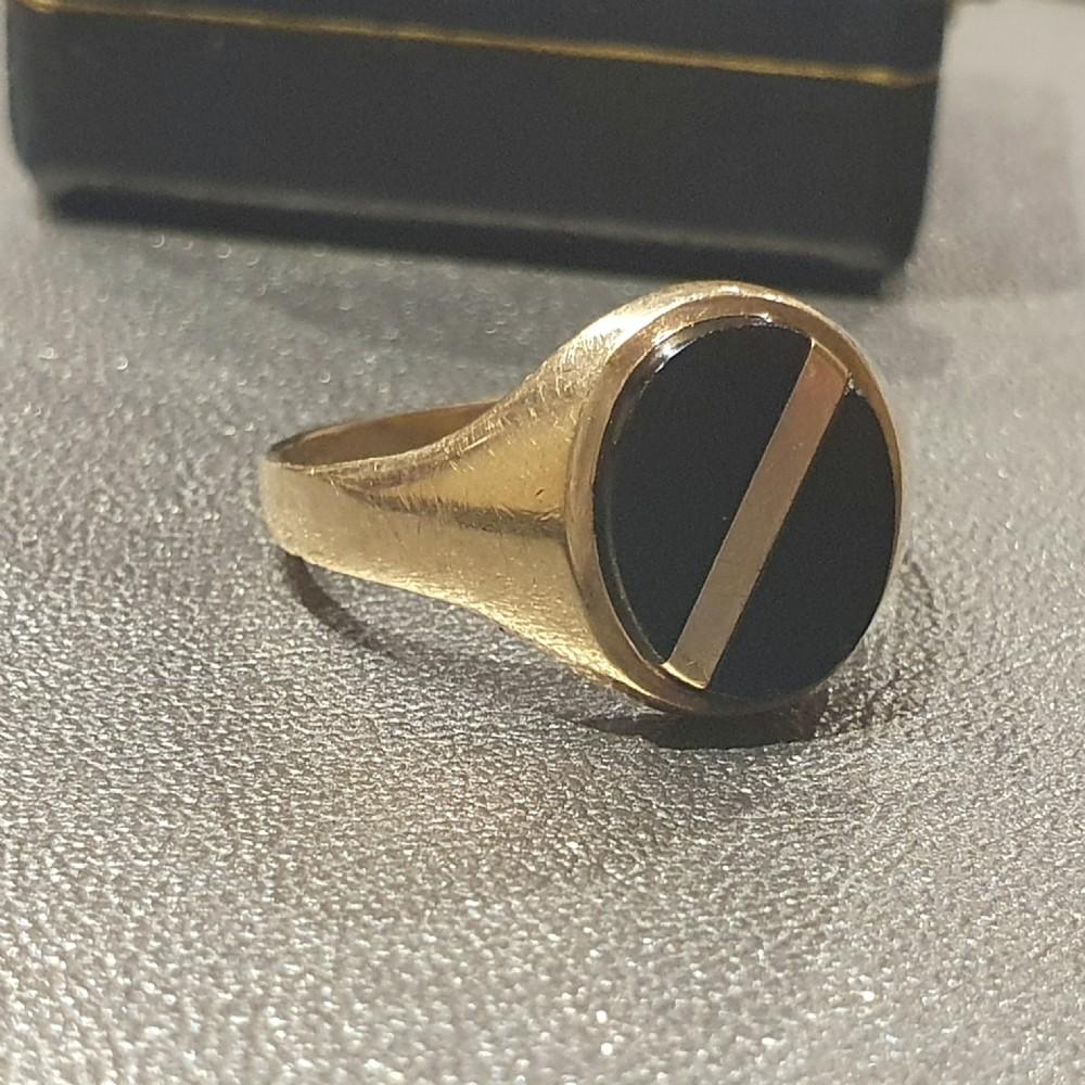 men's onyx gold signet ring size v