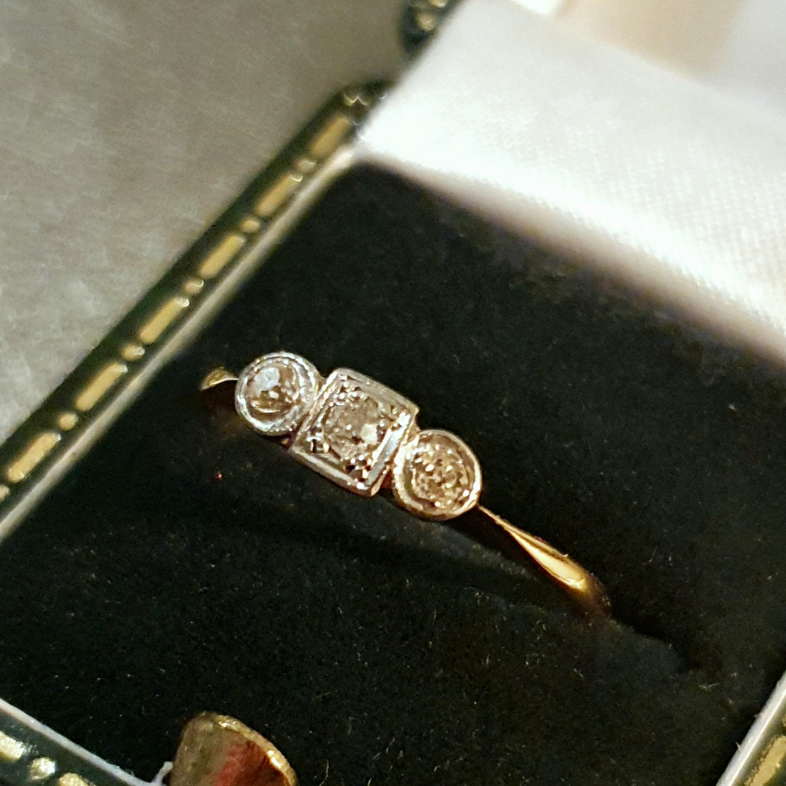 art deco platinum diamond geometric 18ct gold ring size o