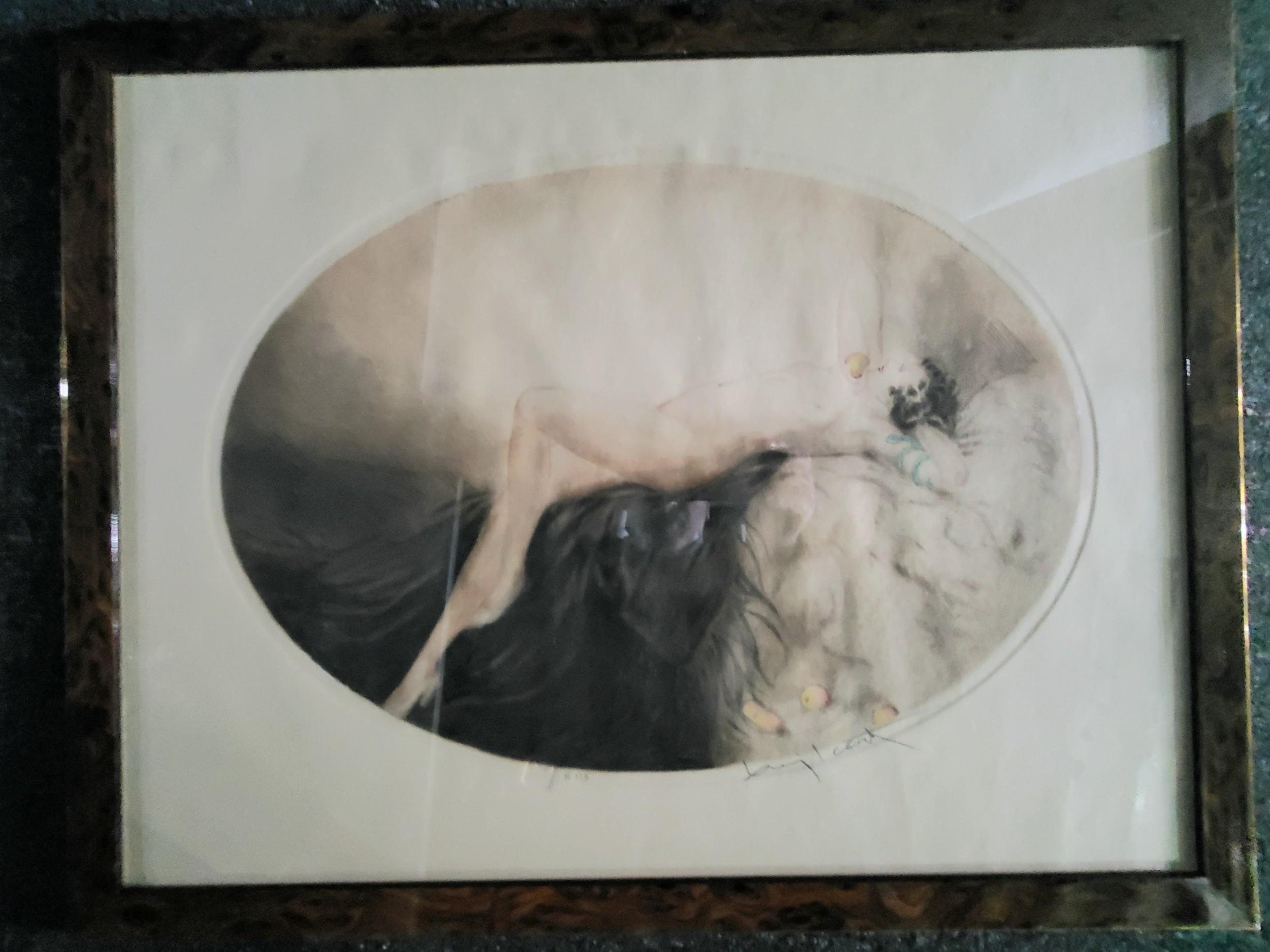 louis icart etching art deco nude 'eve' 1926