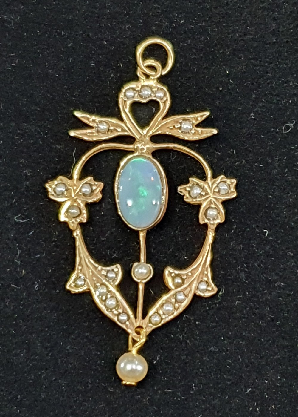 pretty opal and seed pearl pendant approx 15ct opal c1930