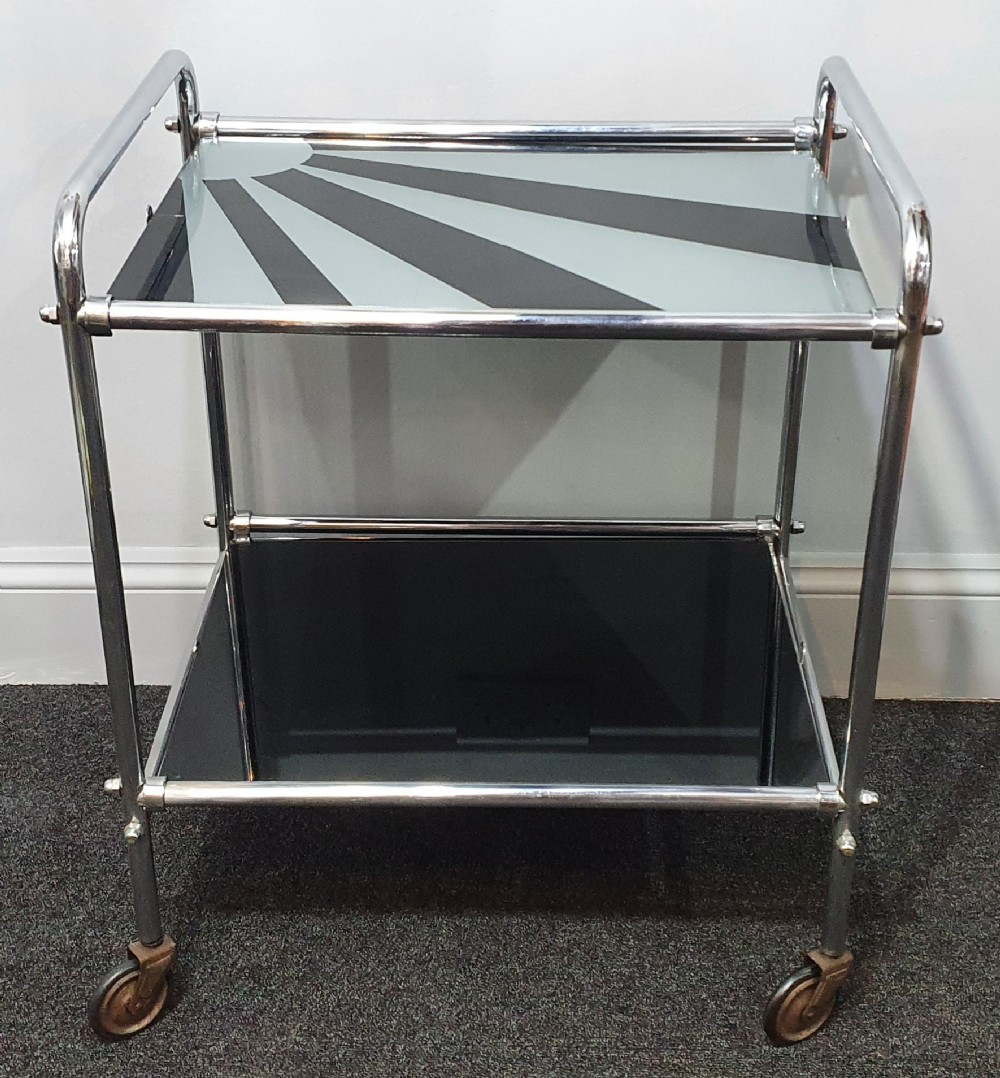 art deco chrome cocktail trolley with 'sunray' design c1920s