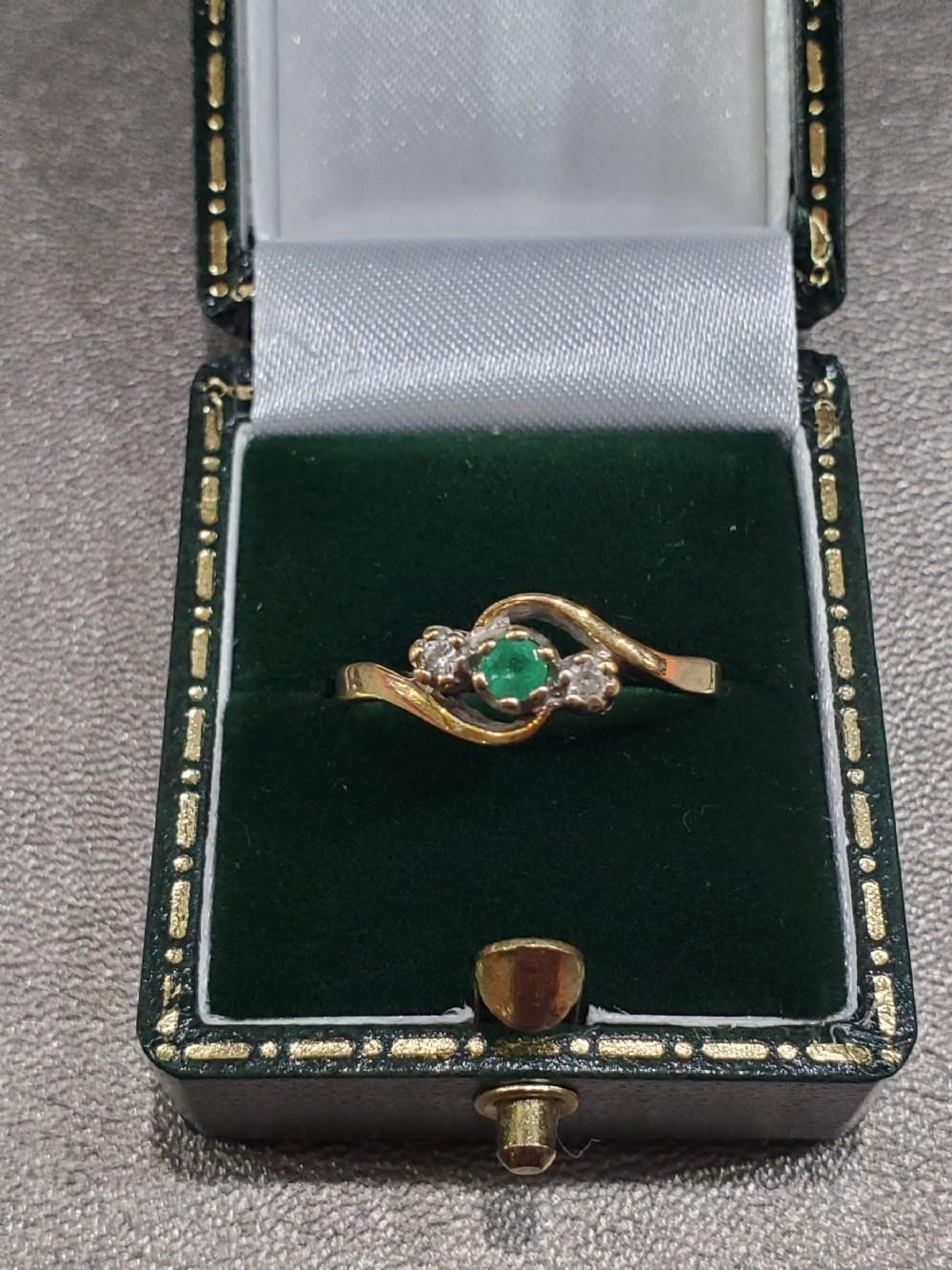 art deco emerald diamond 9ct gold swirl ring dated 1940 size n