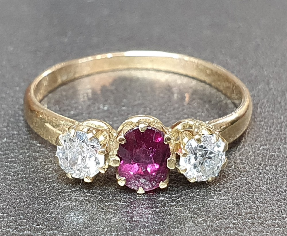 antique ruby diamond trilogy ring 18ct gold band size q c1930s