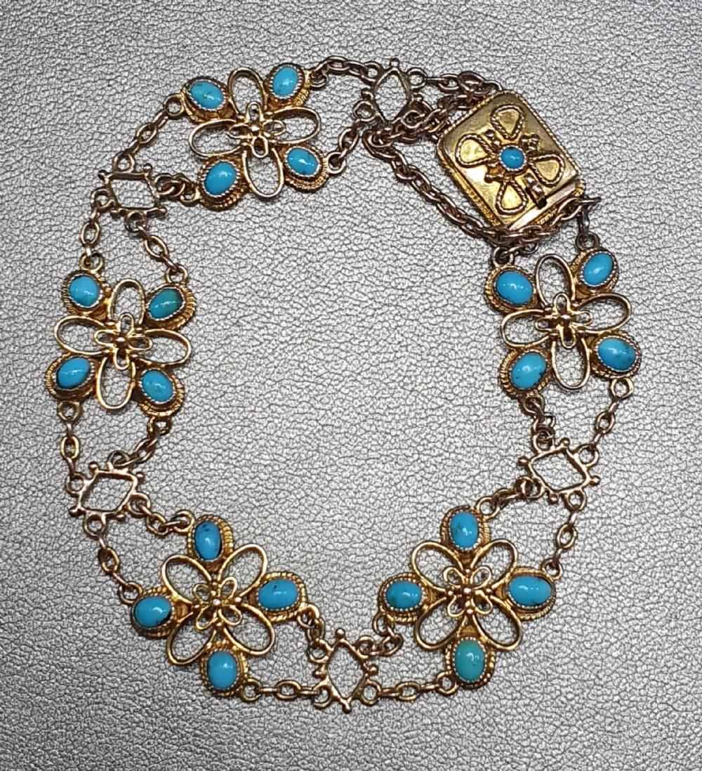 victorian turquoise 15ct gold bracelet