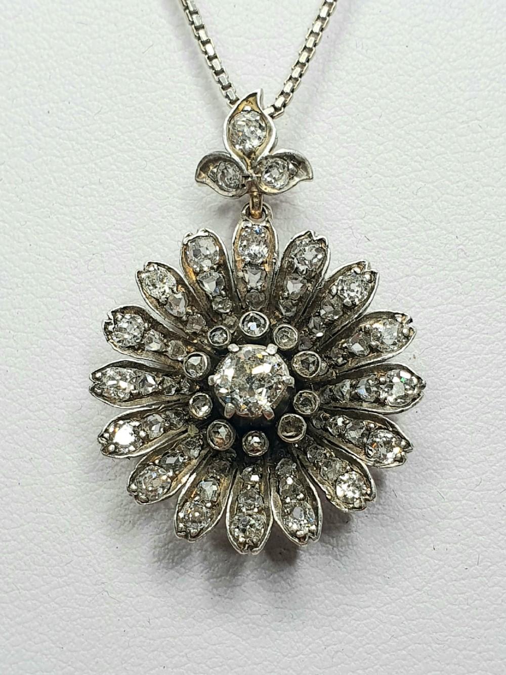 victorian diamond daisy pendant gcs certified
