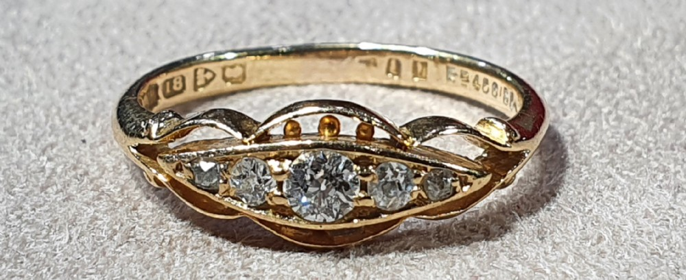edwardian rose cut 5 diamond 18ct gold ring chester hallmark size m