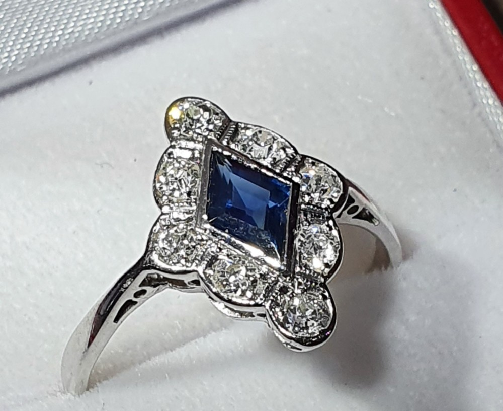 art deco period platinum sapphire diamond ring size q