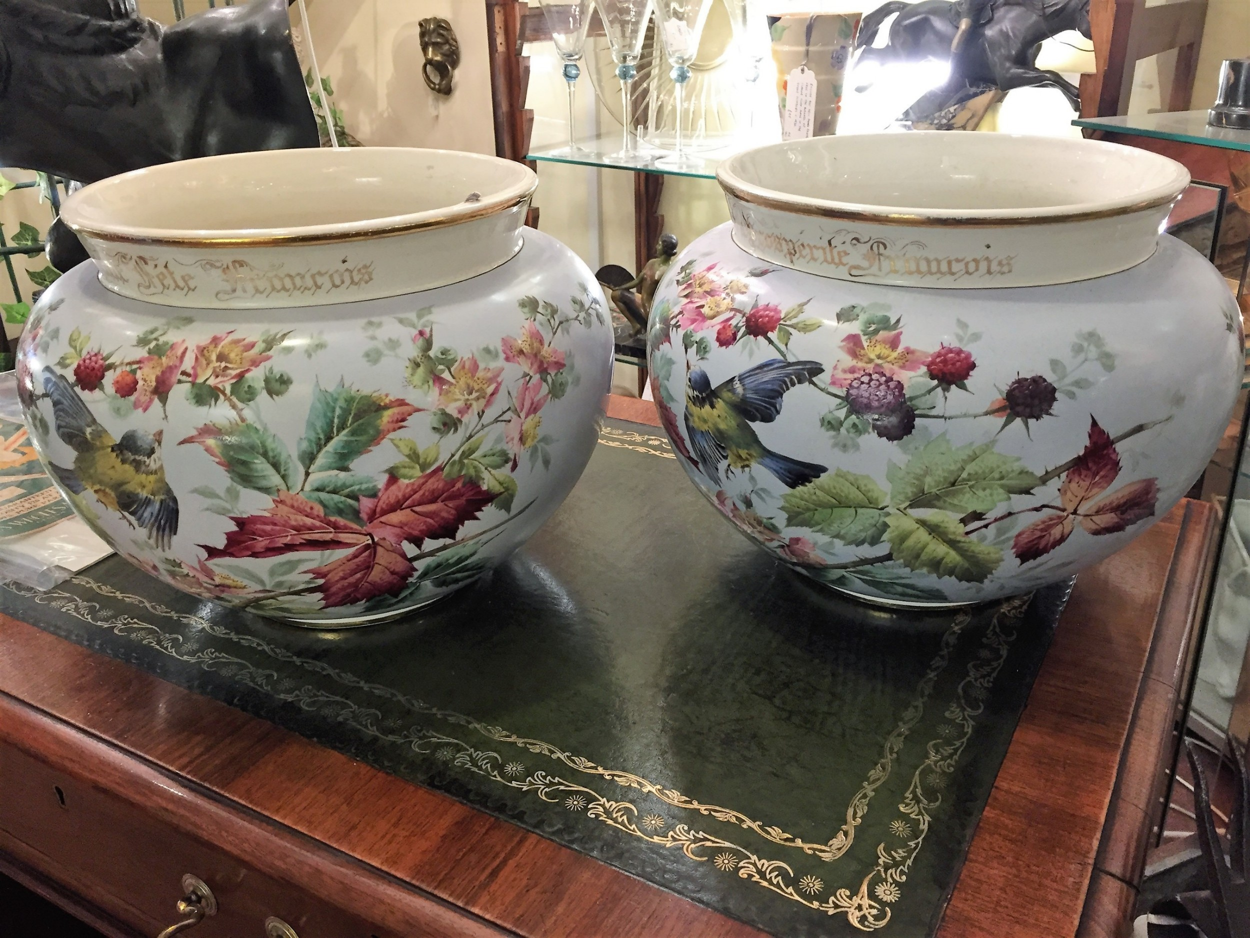 pair of commissioned hand painted french jardinieres dated 1897