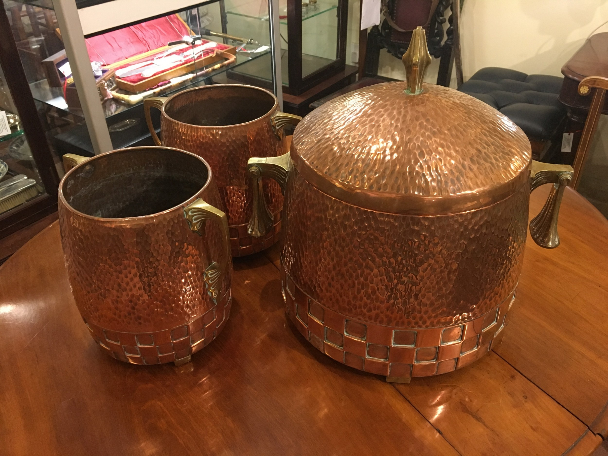 wmf matching copper ice pale and ice buckets early 20th century