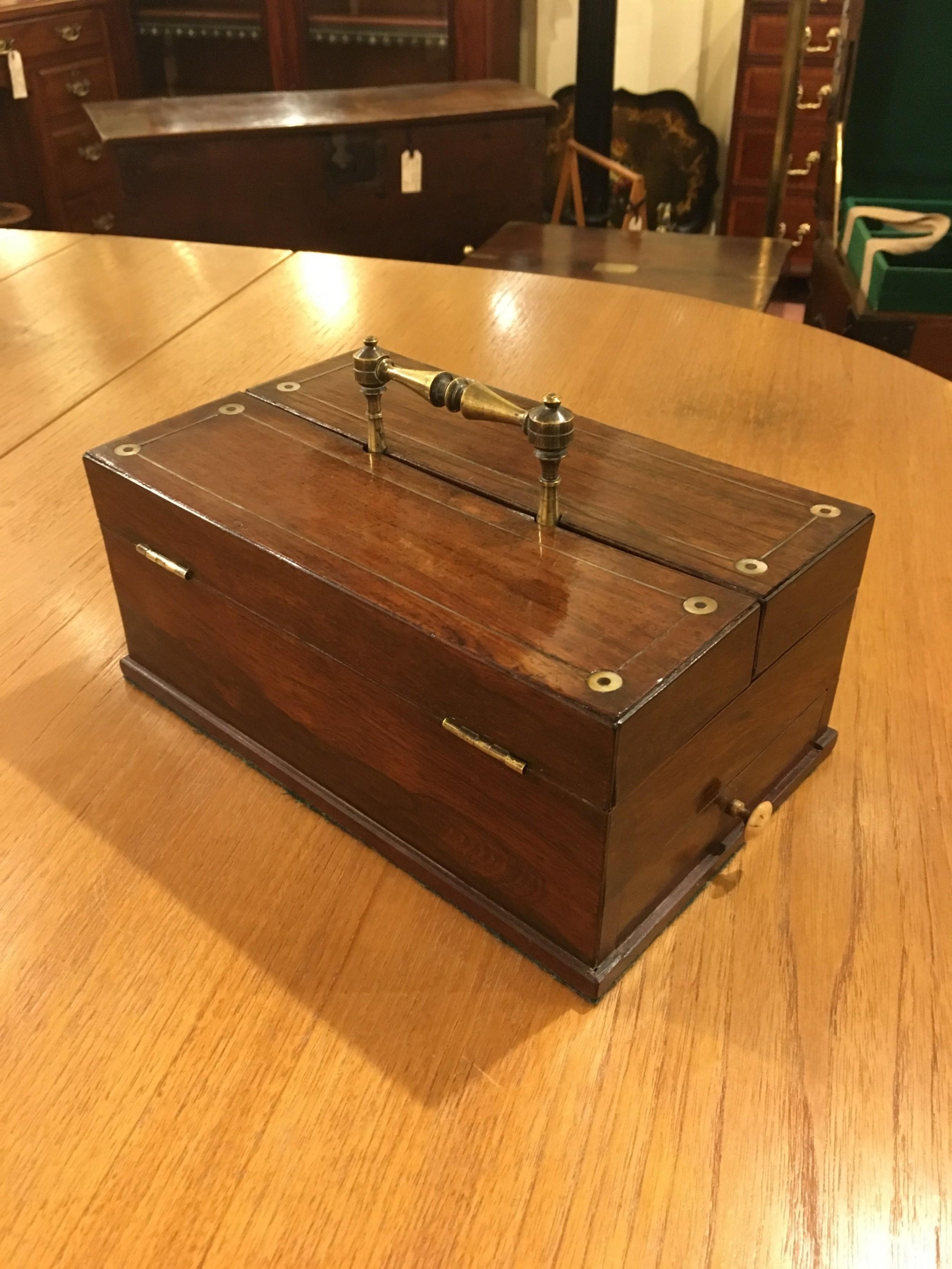 regency desk box in rosewood early 19th century