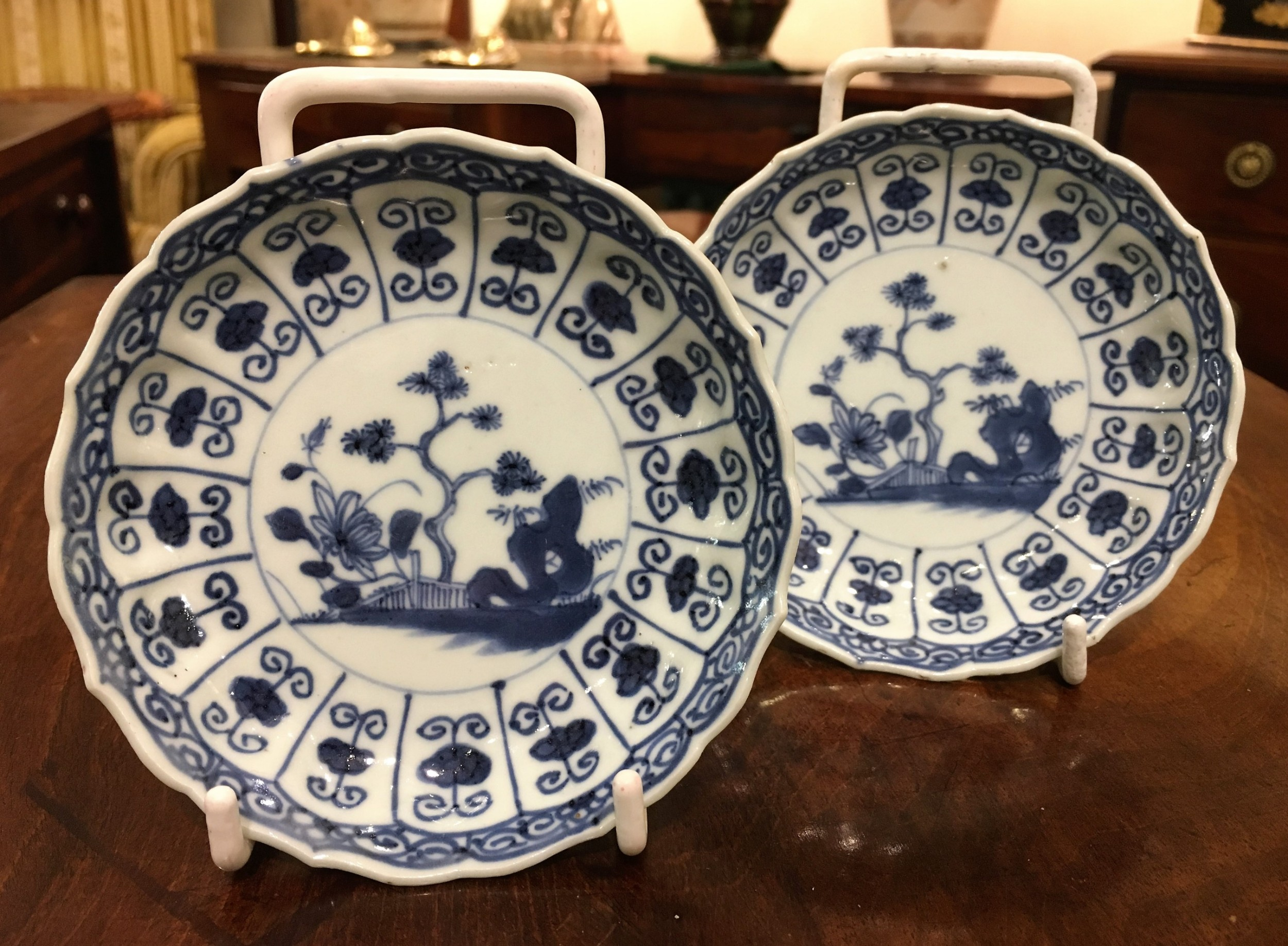 a pair of kangxi 16621722 blue and white small plates of garden scene