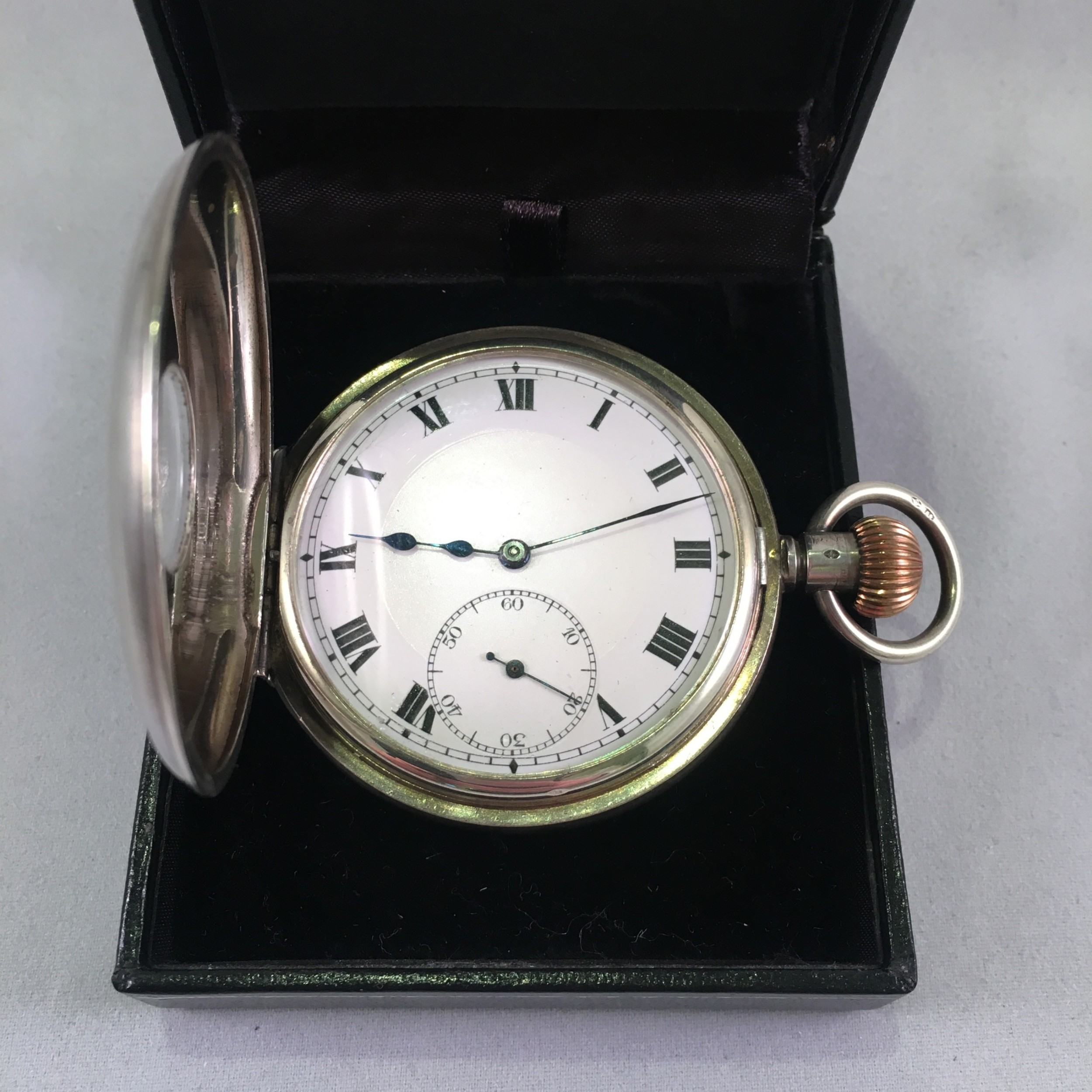 silver halfhunter watch with swiss movement 1920 2 year guarantee