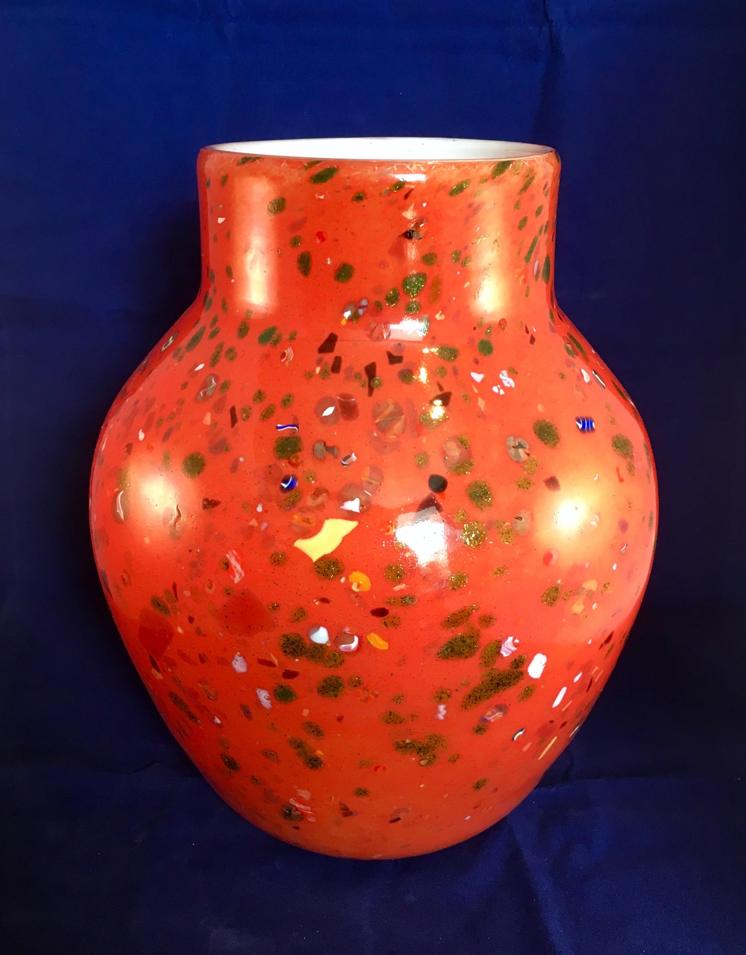 'monart' large red stoneware vase on white base with coloured enamel inclusions c1930