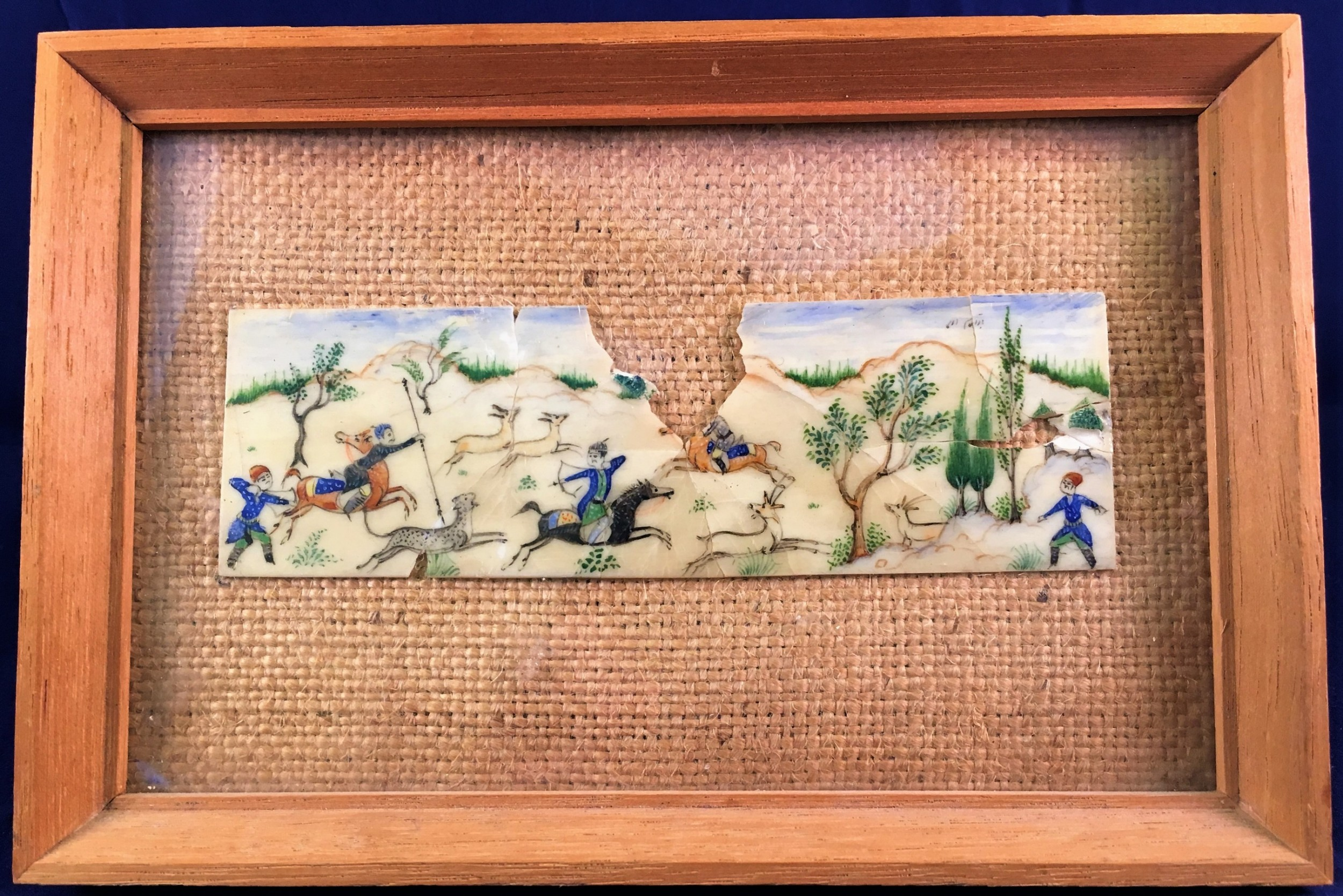 islamic fragmentary miniature tablet of a hunt painted on ivory c18thc19th