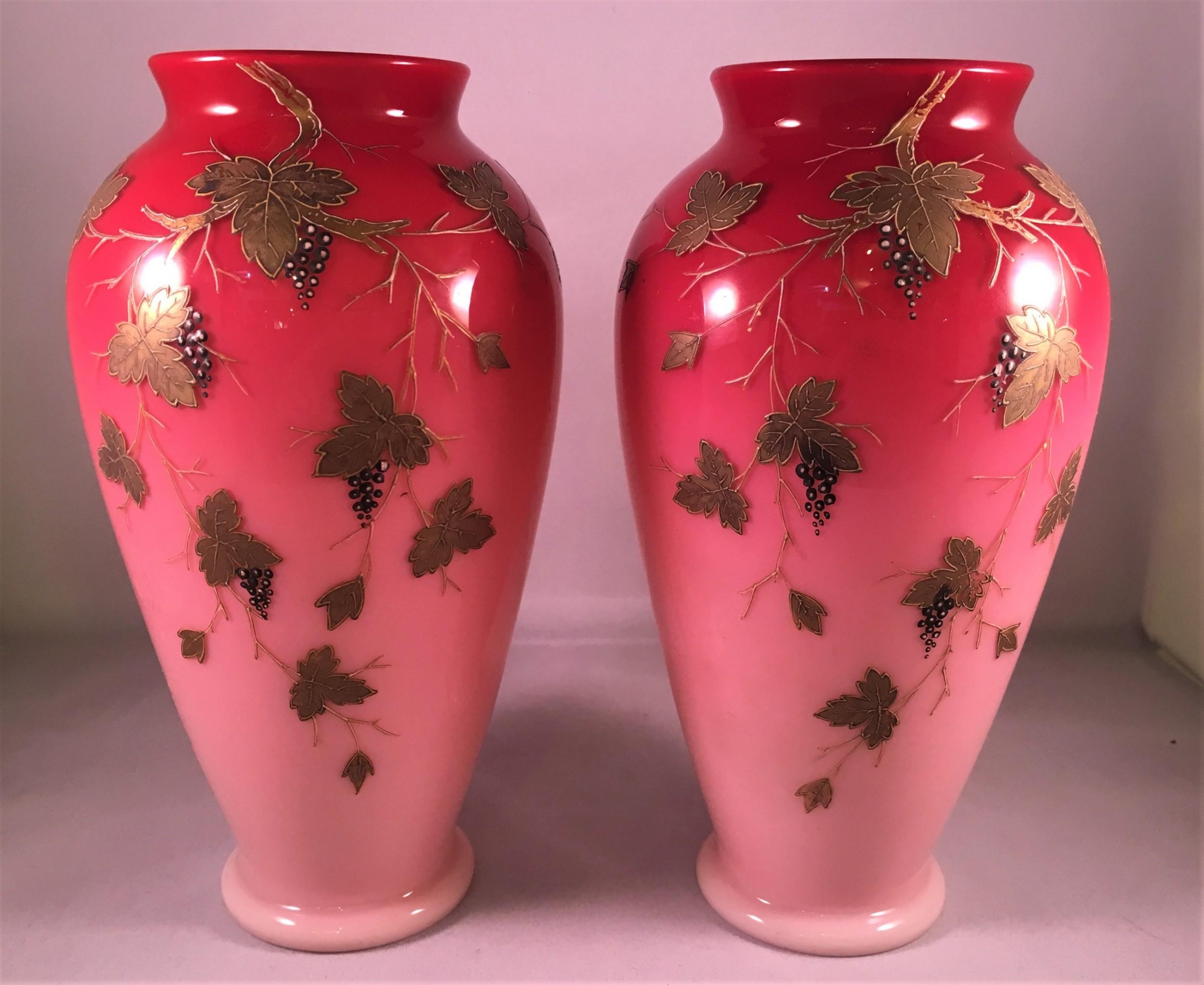 pair of cased blush vases late c19th