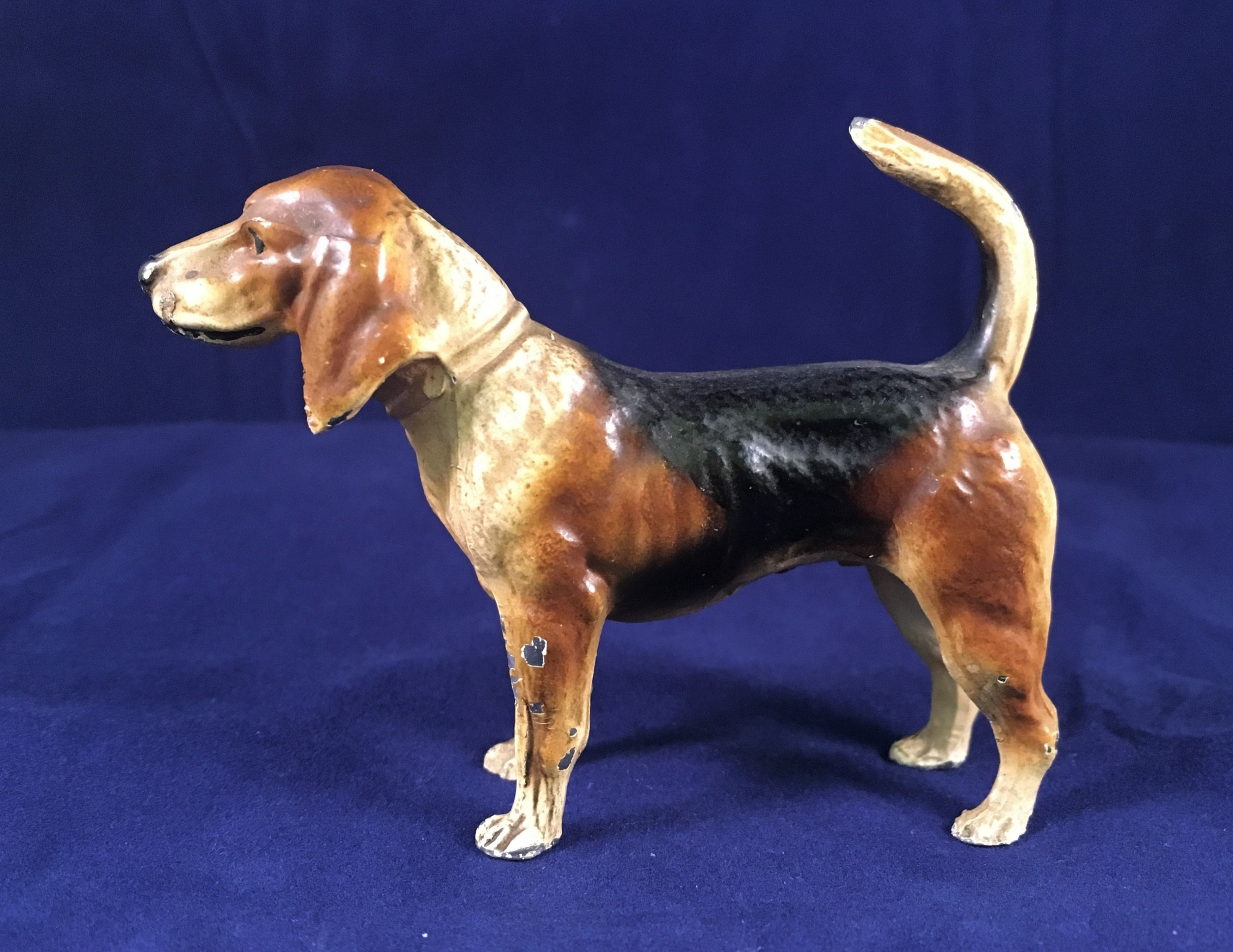 cold painted hound lead possibly nuremberg early c20th